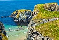 Carrick-A-Rede Rope Bridge  Larrybane Bay  Causeway Coastal Route  Antrim County, Northern Ireland, Europe.