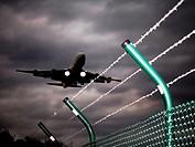 Plane landing at Cologne Bonn Airport, Wahner Heide nature reserve, Cologne, North Rhine-Westphalia, Germany, Europe