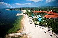 Nusa Dua offers many water activities such as parasailing and jetski´s. Aerial views overlooking the Nusa Dua area of Bali, Indonesia