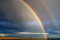 Double rainbow in Santillana Reservoir  Manzanares el Real Madrid, Spain