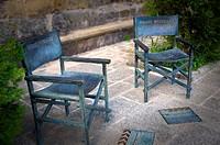 """Sculptures of cinema actors chairs in memory of """"La Vaquilla"""" film shooted by Luis Garcia Berlanga, Sos del Rey Catolico, Cinco Villas region, Zaragoz..."""