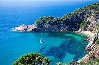 Spain, spring 2011,Girona Province, Costa Brava Coast,Tossa de Mar City,Cala Futadera Beach.