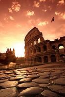 Colosseum and Via Sacra, sunrise, Rome, Italy SUNSET FILTER