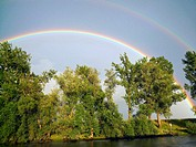 A double rainbow along the Rhine–Main–Danube Canal in Germany