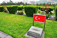 Busan (South Korea): graves of Turkish soldiers fallen during the Korean War at the UN Memorial Cemetery