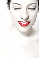 Young woman with red lipstick