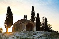 The historic Chapelle Sainte Sixte at sunrise, Provence, France, Europe