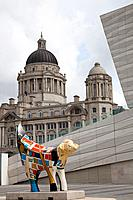 Bananalama street art, waterfront, Liverpool, England, UK, Great Britain outside the Museum of Liverpool, with the Mersey Docks and Harbour Board buil...