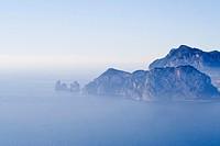 Capri isalnd seen from punta Campanella, Sorrento peninsula, Campania, Italy