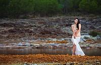 Nude Romanian woman in nature in Rio Tinto, Spain