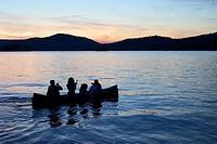 Canoe on Fourth Lake at sunset, Inlet, New York, Adirondack Mountains