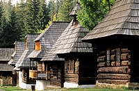 Traditional wooden houses in the open air museum representing village of Orava region Muzeum oravskej dediny Zuberec - Brestova, Slovakia