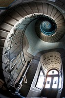 Spiral staircases inside the Lighthouse Echkmüll  Penmarch, Finisterre, Brittany, France, Europe