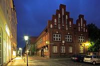Germany, Rendsburg, Kiel Canal, Nord-Ostsee-Kanal, Eider, Ochsenweg, Schleswig-Holstein, Altstaedter Markt, Old City Hall, half-timbered, brick buildi...