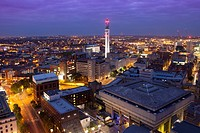 Cityscape of Birmingham at night, England, UK