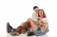 Young couple with dogs