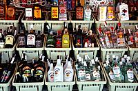Alcoholic Drinks on sale in a tourist store in Spain