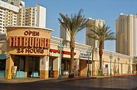 Fatburger, a restaurant on the Las Vegas Strip, hotel towers in the background  Las Vegas, Nevada, United States