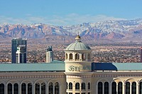 Detail of the Bellagio hotel and the mountains beyond in winter  Las Vegas, Nevada, United States