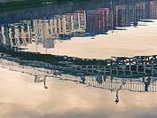 Reflection of the Ha´penny Bridge in the River Liffey, Dublin, Ireland