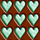 Dark chocolate and mint hearts seamless tiling background texture pattern