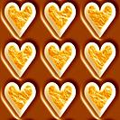 Milk chocolate and toasted marshmallow hearts seamless tiling background texture pattern