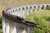 Viaduct of Glenfinnan where a touristic steam train crosses everyday, Highlands, Scotland