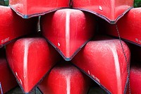 Red canoes in Old Forge in the Adirondack Mountains of New York