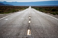 Empty roadway in deserted, rural area