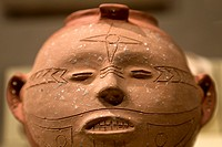 Mississippian period head pot showing early Native American tattoo variations at Cahokia Mounds State Historic Site, Illinois, USA