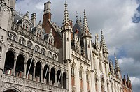 Details of the architecture in the center of historic Bruges, Belgium