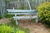 Wooden bench in a garden on Hornby Island, BC, Canada