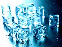 Frozen ice cubes isolated on a kitchen bench
