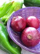 Purple onions and peppers