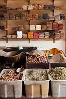 Spices for sale in local market in Stone Town, Zanzibar Island.