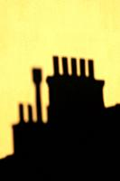 Chimneys silhouetted against the evening sky, Marseille, France
