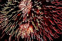 Fireworks light up the sky while celebrating Bastille Day, Marseille, France