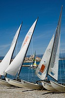 Antibes, French Riviera, beach and catamarans