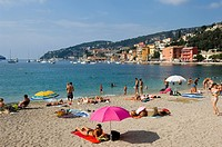 Villefranche sur Mer, the beach and holidaymakers, South of France