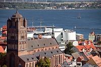 view over the historic centre of Stralsund with Saint James´s Church, Ozeaneum and Ruegen island, Hanseatic City of Stralsund, Mecklenburg-Vorpommern,...