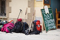 Back packs outside a bar on the Camino de Santiago