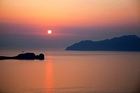 view from plaka village, milos island, cyclades islands, greece, europe