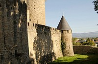 Castle, medieval wall of fortified city, Carcassonne, Aude, Languedoc-Roussillon, France