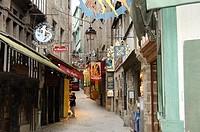 Europe,France,Bretagne,Brittany Region, Normandie, Mont Saint Michel, Street abbey