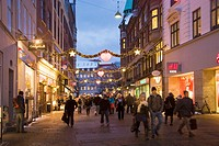 Christmas urban scene in Stroget Street, Copenhague