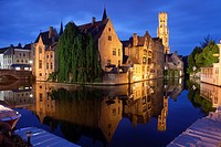 Rozenhoedkaai with Belfry at night, Bruges, West Flanders, Belgium