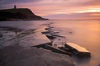 Winter sunset on the Kimmeridge ledges Dorset