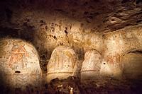 park of the murgia of matera or archaeological park natural-historical of the rock church, rock churches of matera, matera area, basilicata, italy, eu...