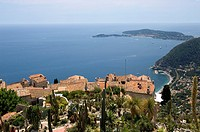 Eze village, view from exotic garden, to St  Jean Cap Ferrat, South of France