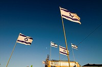 Israeli flags on the beach in Tel-Aviv.